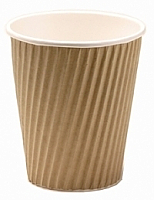 12oz Insulated Brown Kraft Rib Triple Layer Paper Cup per 500