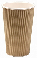 20oz Insulated Brown Kraft Rib Triple Layer Paper Cup per 500